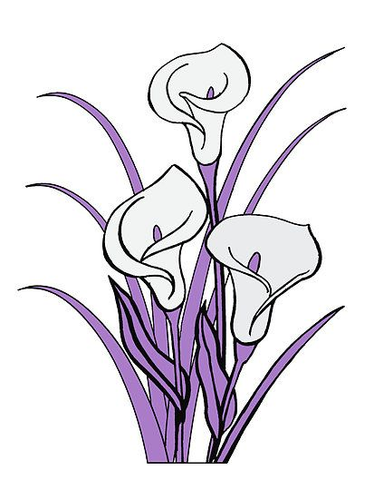 Purple Flowers Drawing