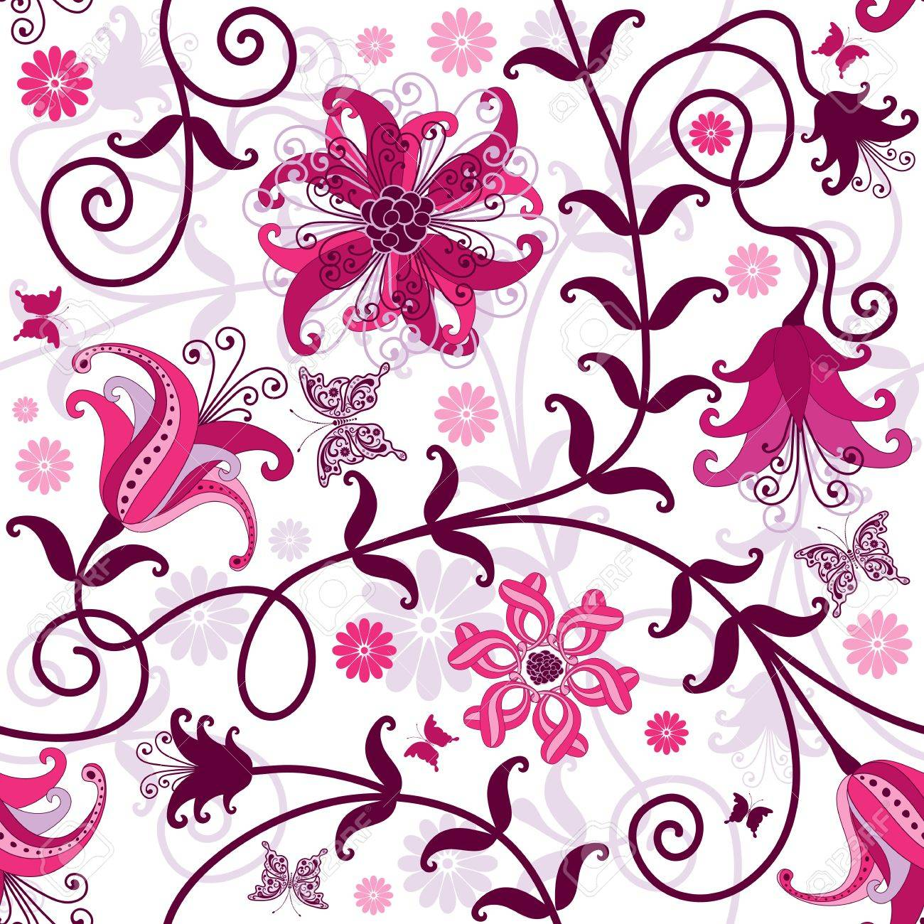 1300x1300 Seamless Floral Pattern With Pink Purple Flowers