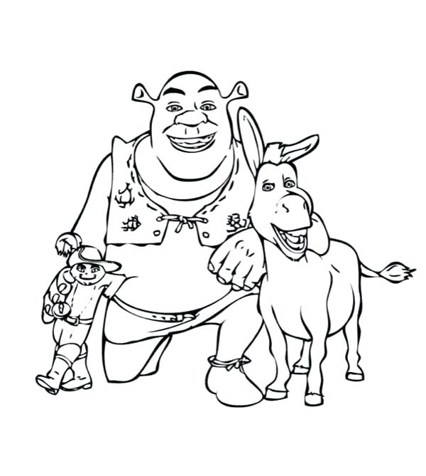 600x669 Cool Donkey Coloring Pages Kids Puss In Boots Take Picture