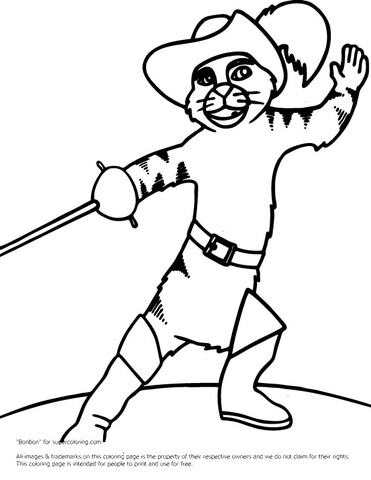 371x480 Puss In Boots Fighting Coloring Page Free Printable Coloring Pages