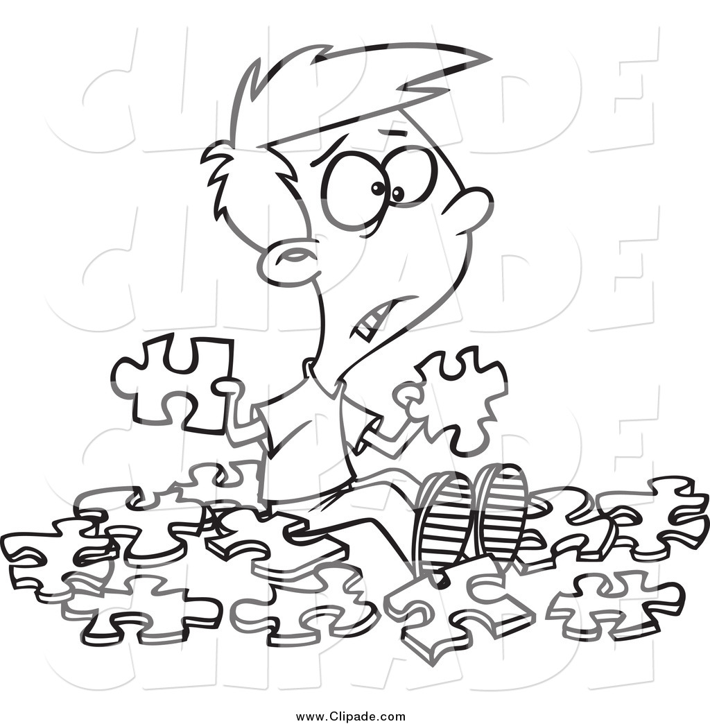 1024x1044 Clip Art Of A Black And White Confused Boy With Similar Puzzle