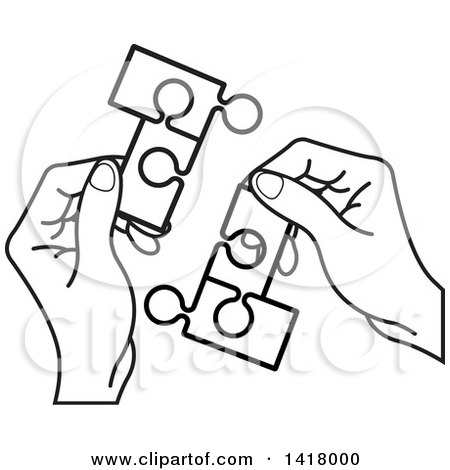450x470 Clipart Of Lineart Hands Holding Connected Jigsaw Puzzle Pieces