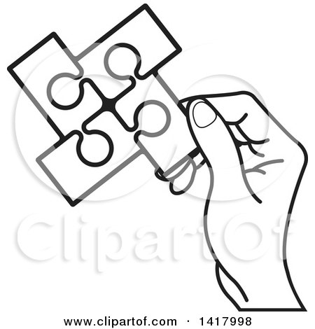 450x470 Clipart Of A Lineart Hand Holding A Section Of Connected Jigsaw