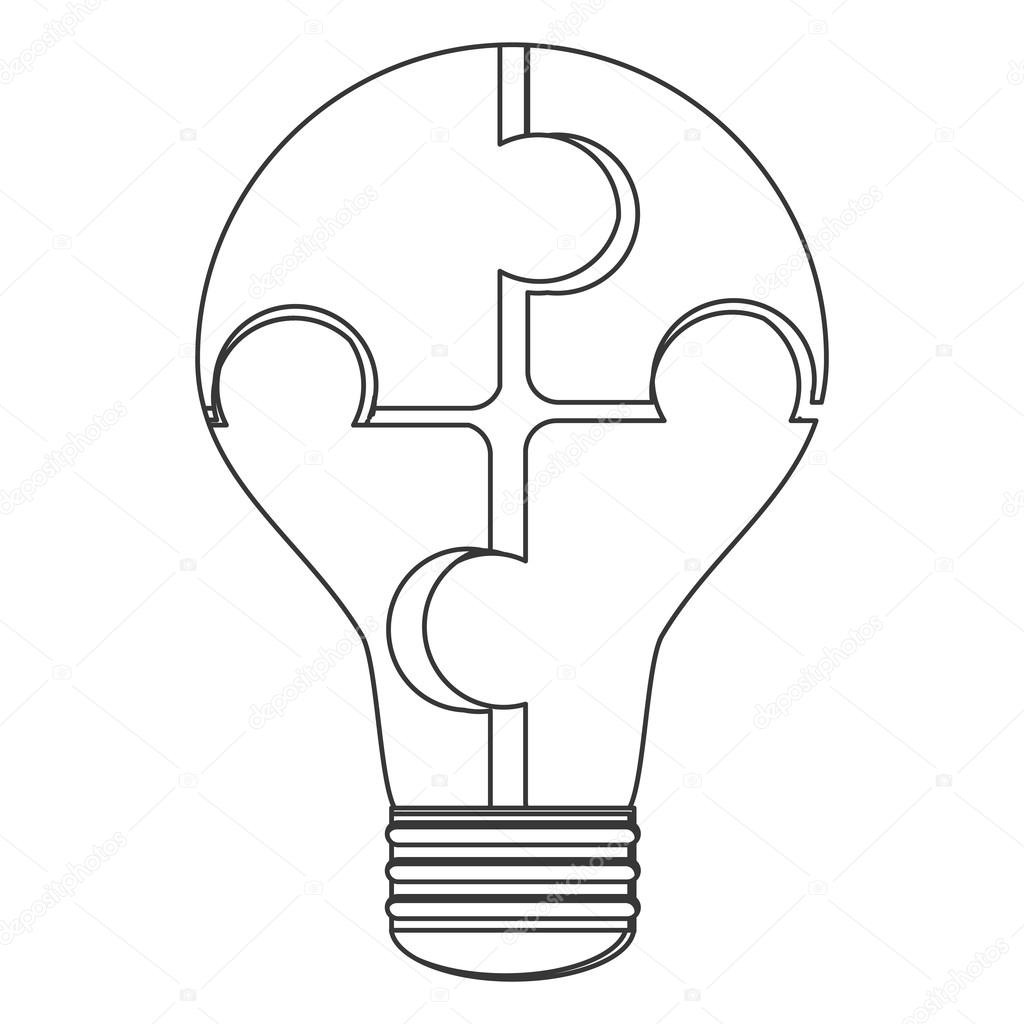 1024x1024 Puzzle Pieces Creating Lightbulb Icon Stock Vector Jemastock