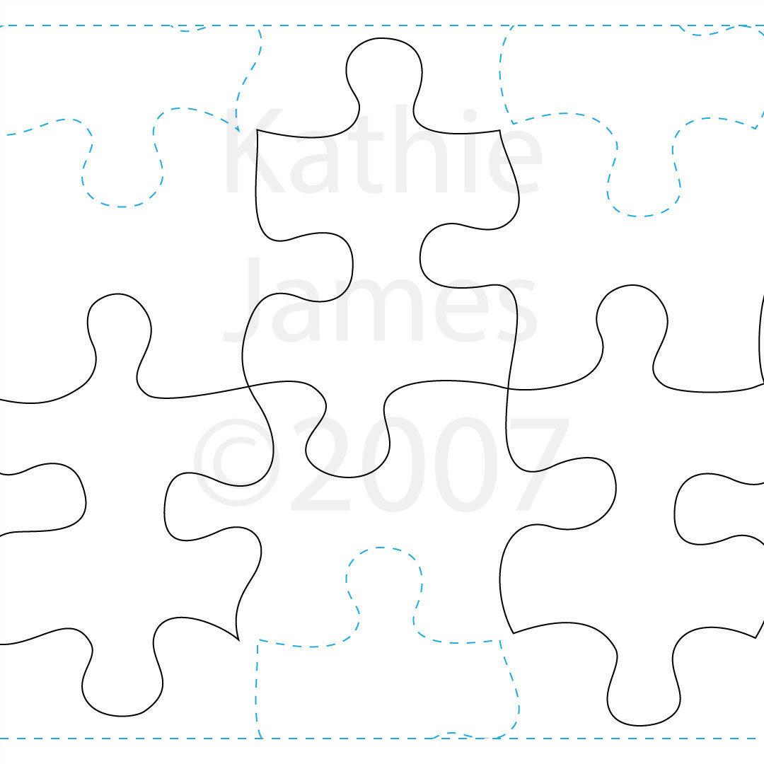 1080x1080 Puzzle Pieces Machine Quilting Design Digital Kathie James