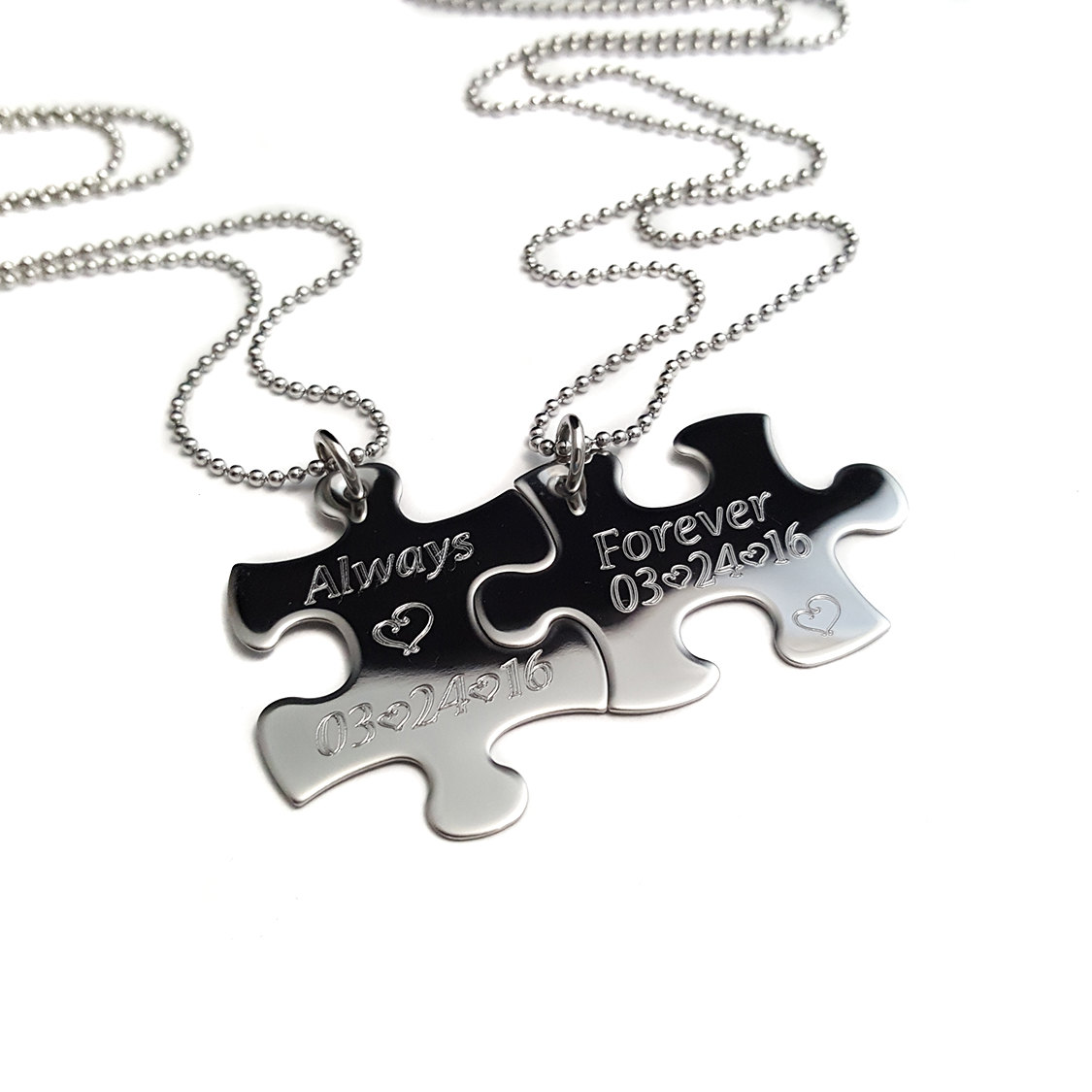 1125x1125 Puzzle Piece Necklace Always And Forever Couples Jewelry