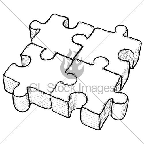 500x500 Shaped Vector Drawing Puzzle Gl Stock Images