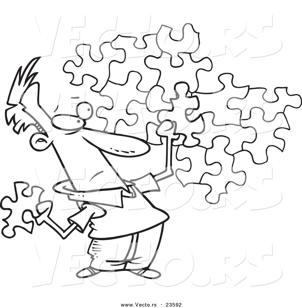 1024x1044 Vector Of A Cartoon Guy Trying To Assemble A Puzzle
