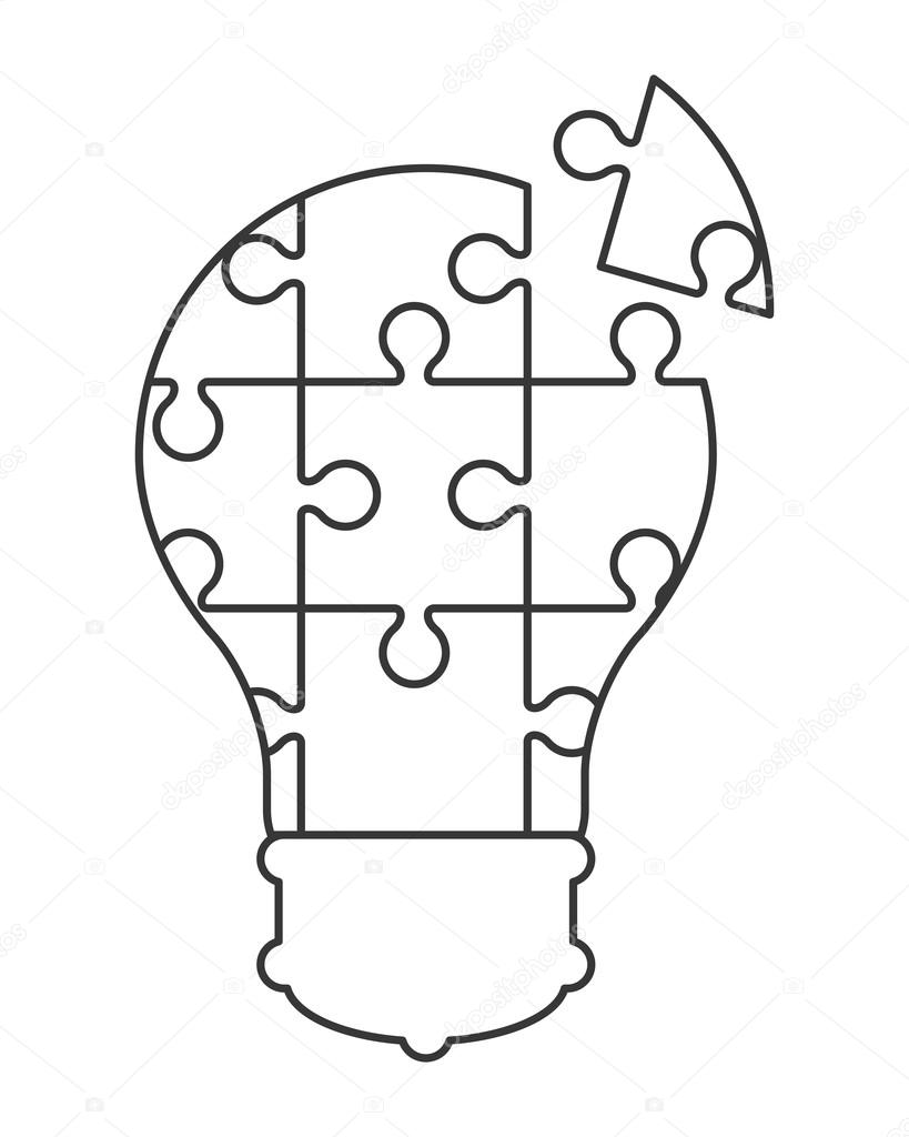 819x1024 Lightbulb In Puzzle Pieces Icon Stock Vector Jemastock