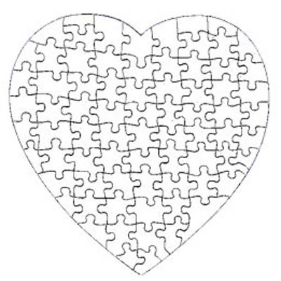 400x400 7.5 Heart Shaped 75 Piece Gloss Puzzle 10 Pack