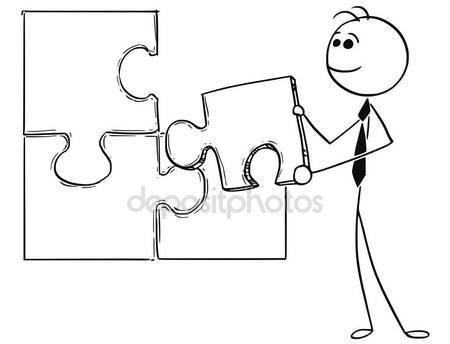 450x344 Cartoon Illustration Of Business Man Holding Jigsaw Puzzle Piece