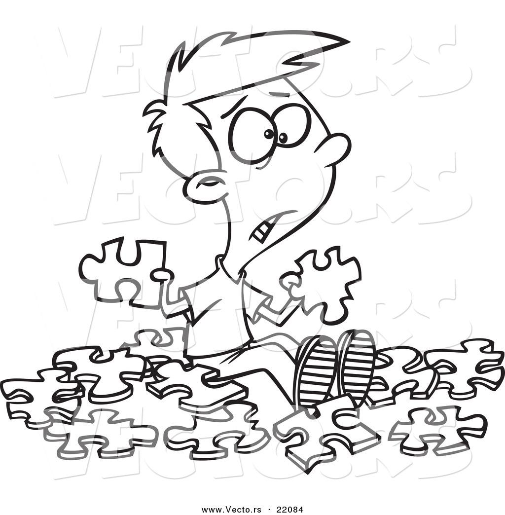 1024x1044 Vector Of A Cartoon Confused Boy With Similar Puzzle Pieces