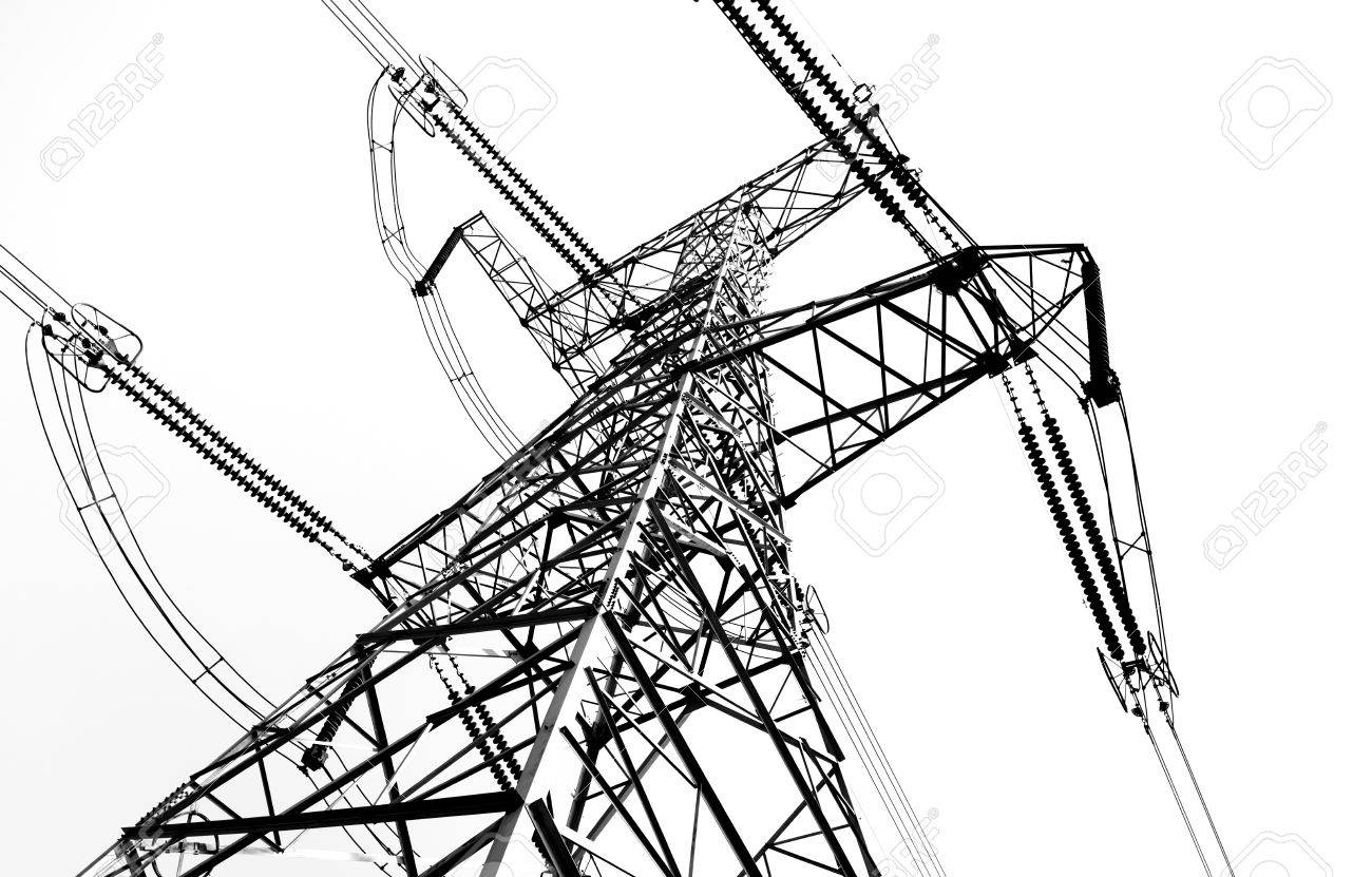 1300x831 Electricity Pylon Isolated On White Stock Photo, Picture