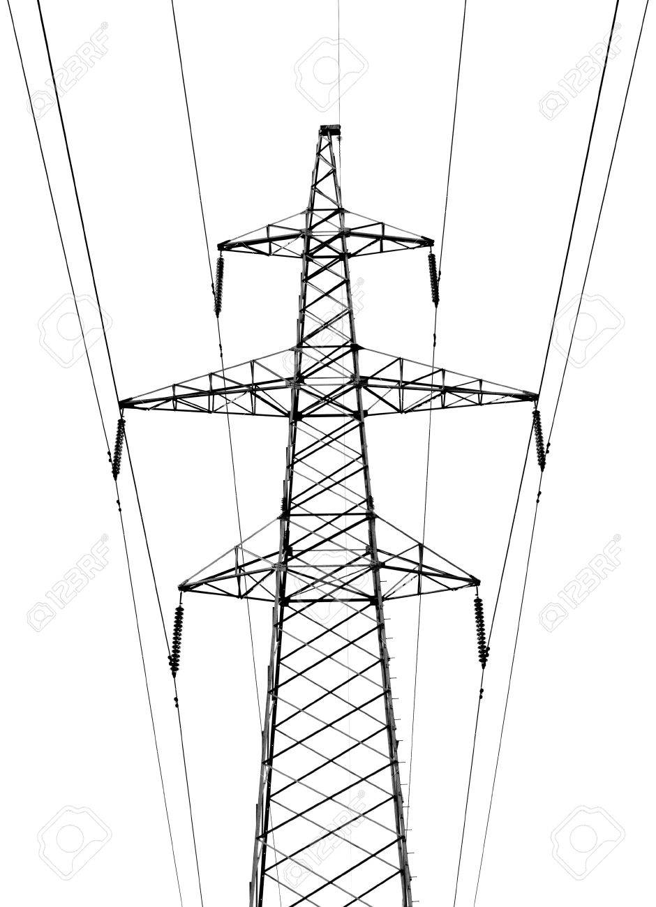 940x1300 Electricity Pylon On White Background Stock Photo, Picture