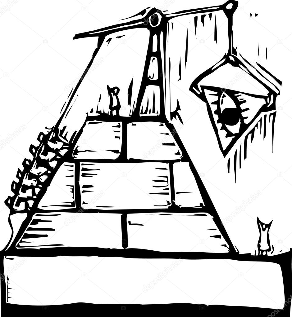 940x1023 Masonic Pyramid Construction Stock Vector Xochicalco