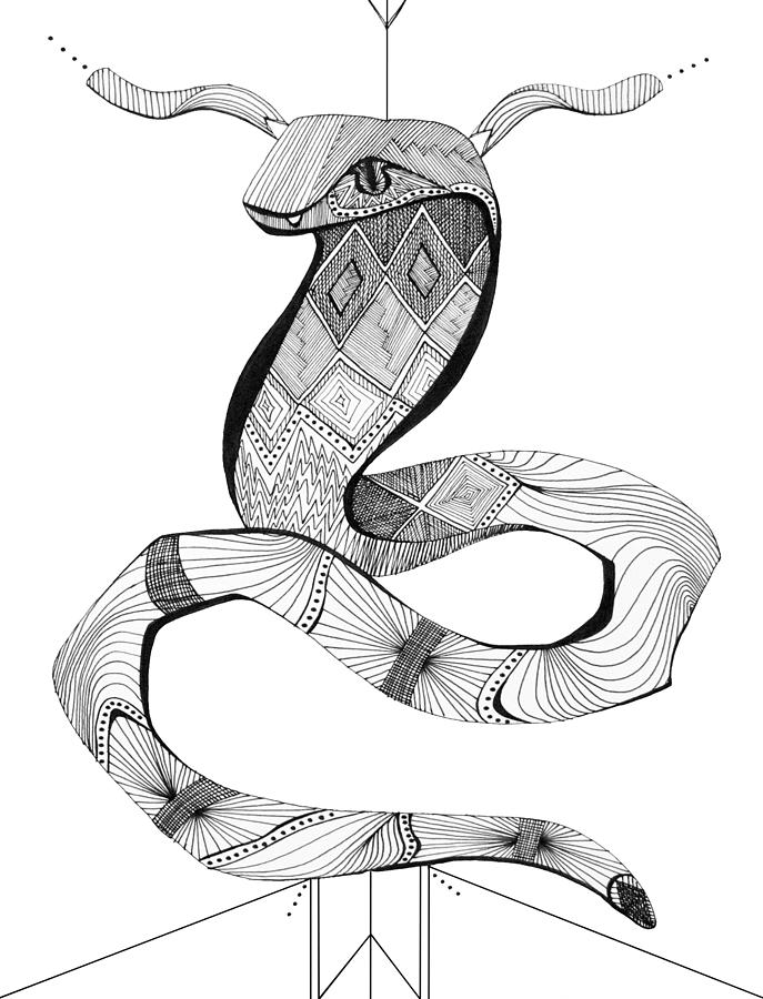 687x900 Diamond Python Drawing By Audrey Miller