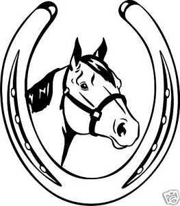 263x300 Quarter Horse Head Shoe Equestrian Trailer Decal 10.8 Ebay
