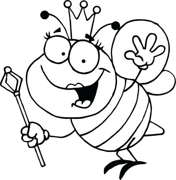 600x615 Bee To Color Queen Bee Etc Clip Art Library Queen Bee Coloring