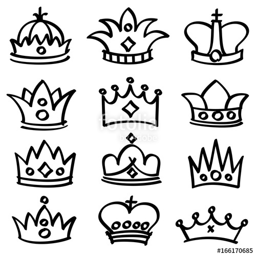 500x500 Luxury Doodle Queen Crowns Vector Sketch Collection Stock Image