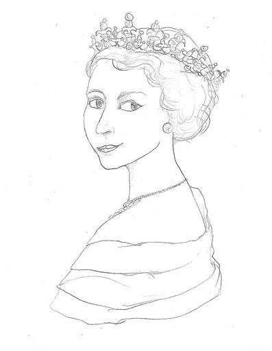 397x512 Portrait Of Queen Elizabeth Ii By Audrey Zhang