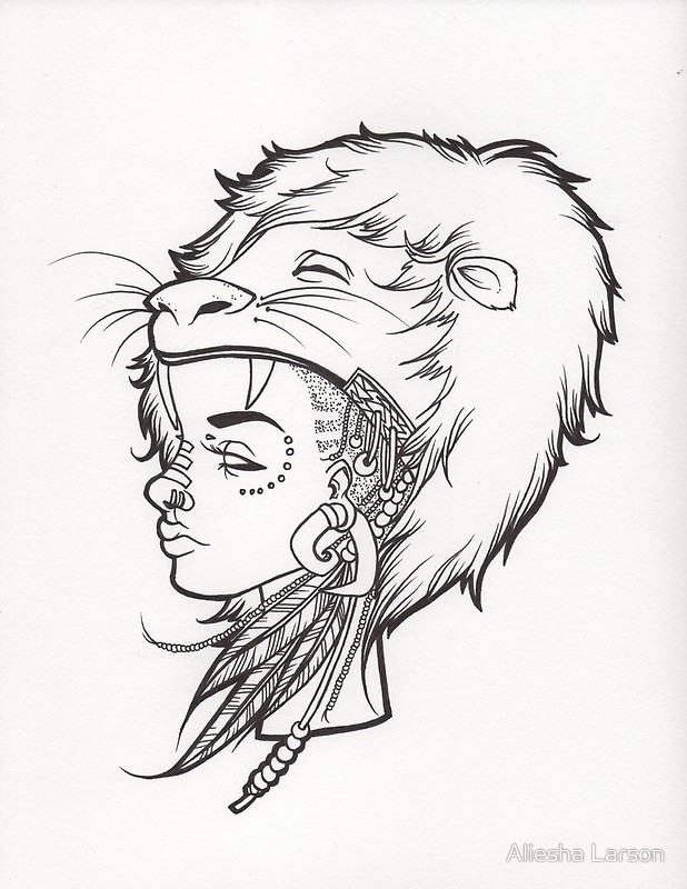 618x800 Lion Queen Line Drawing. Posters By Aliesha Larson Redbubble