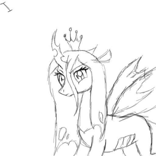 512x512 Queen Chrysalis Sketch By Ijustloveit619