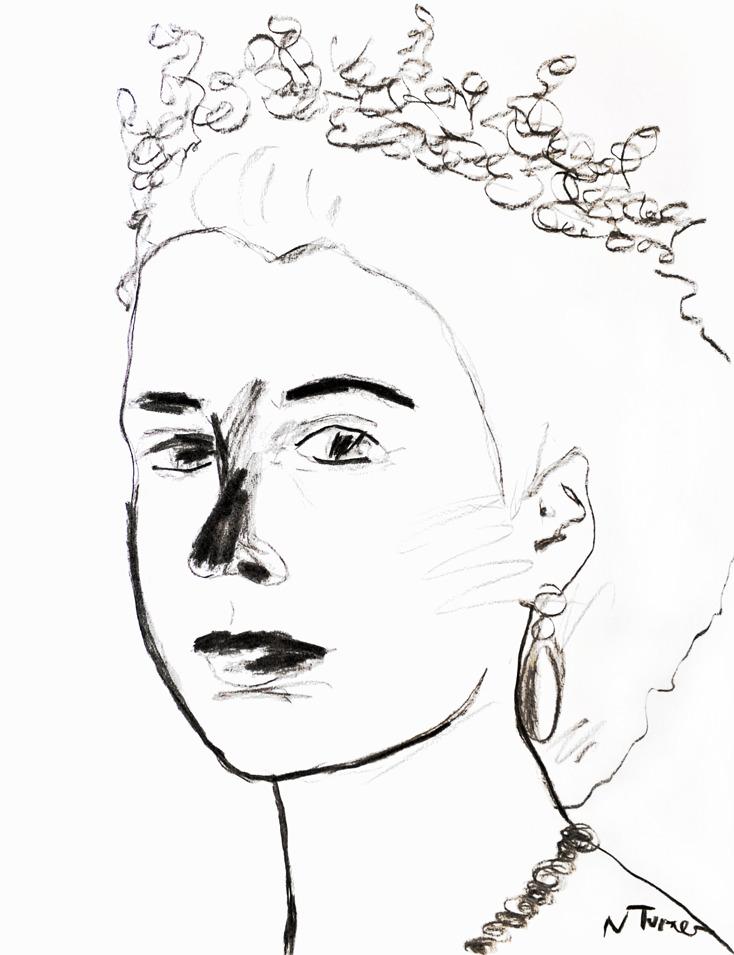 734x955 Queen Elizabeth Portrait Large Original Charcoal Drawing Modern