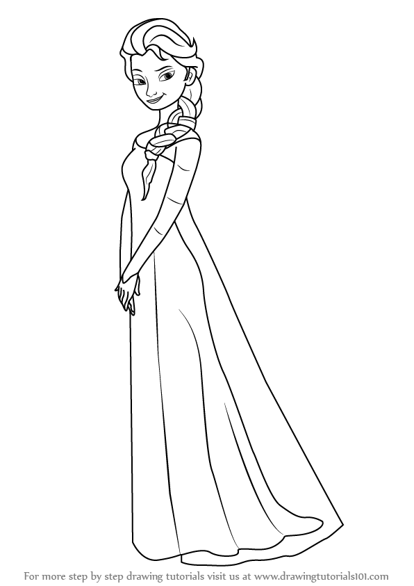 596x843 Learn How To Draw Elsa From Frozen (Frozen) Step By Step Drawing