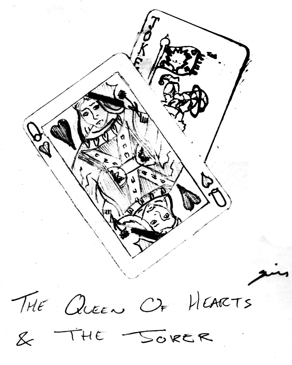 Queen Of Hearts Card Drawing at GetDrawings.com | Free for personal ...