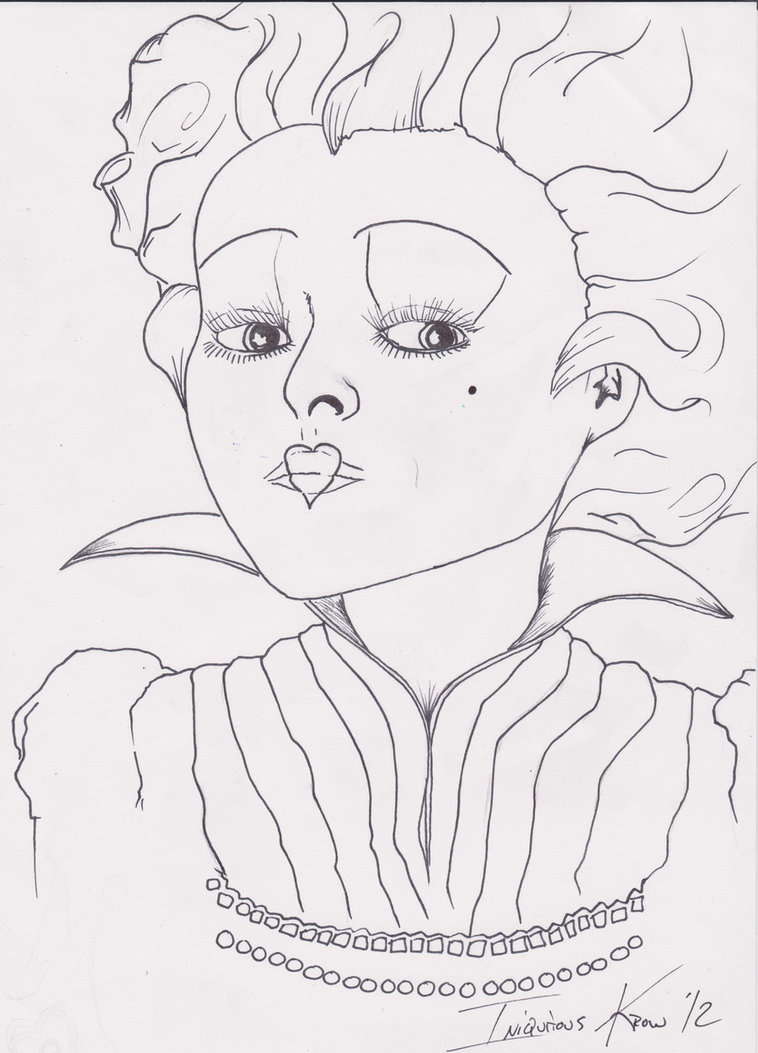 758x1053 Queen Of Hearts Line Work Tim Burton Prompt Pen By Iniquitous