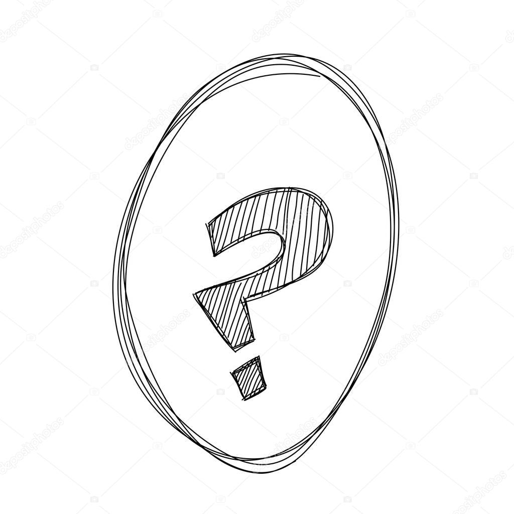 1024x1024 Hand Draw Question Mark Stock Vector Madozi