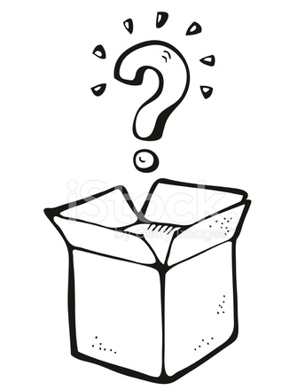 344x440 Opened Box With Question Mark Cartoon Stock Vector