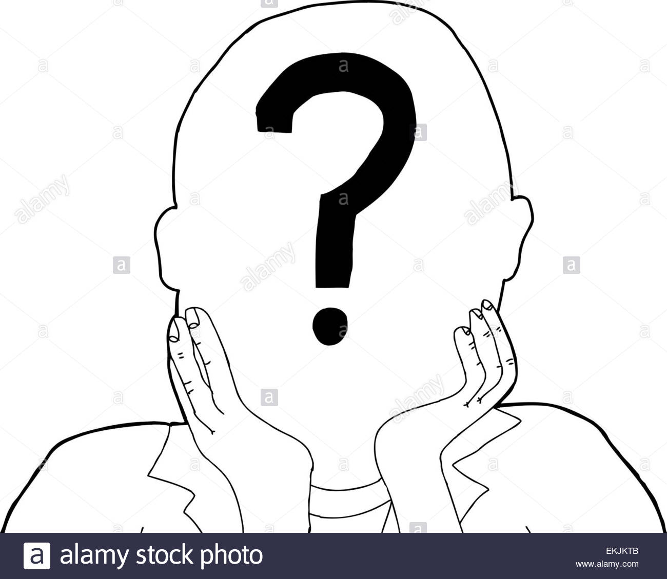 1300x1129 Outline Of Anonymous Person With Question Mark Stock Photo