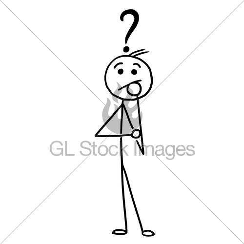 500x500 Vector Stickman Cartoon Man Standing With Question Mark A Gl