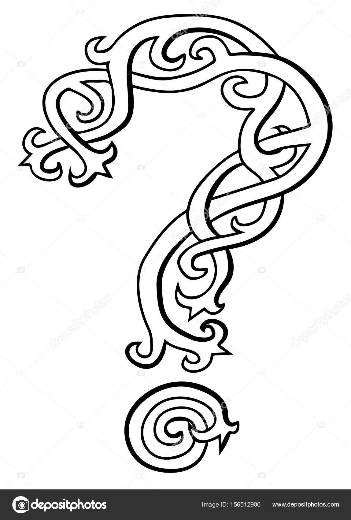 1148x1700 Vector Illustration Of Question Mark Celtic Style Black And White