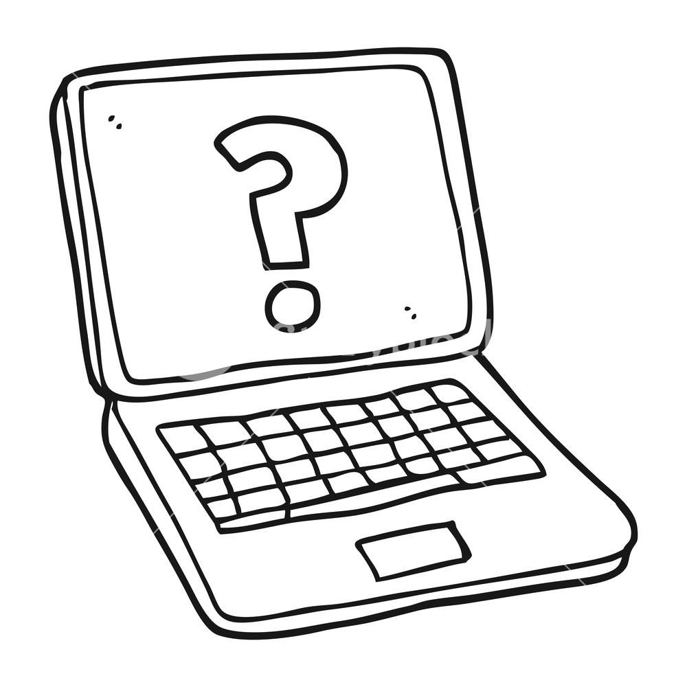 1000x1000 Freehand Drawn Black And White Cartoon Laptop Computer