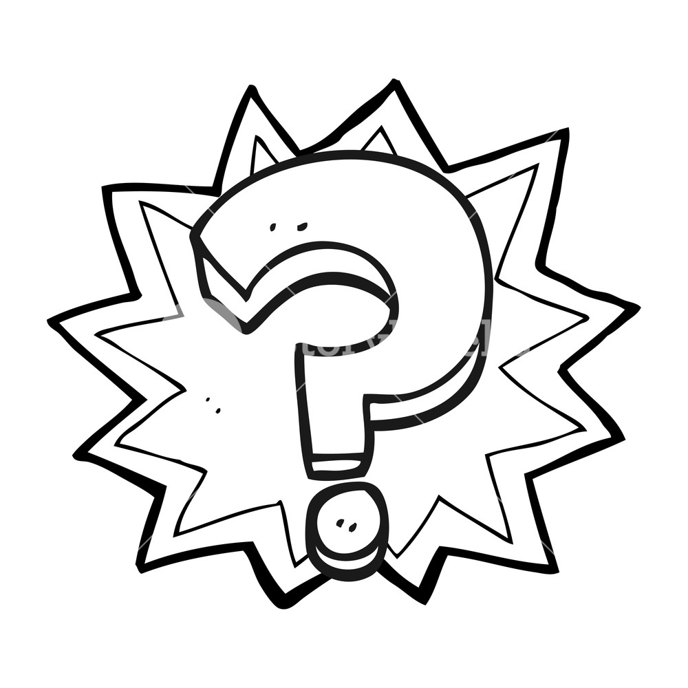 1000x1000 Freehand Drawn Black And White Cartoon Question Mark Royalty Free