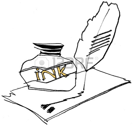 450x429 Feather Quill Pen With Inkwell Isolated On White Background Drawn