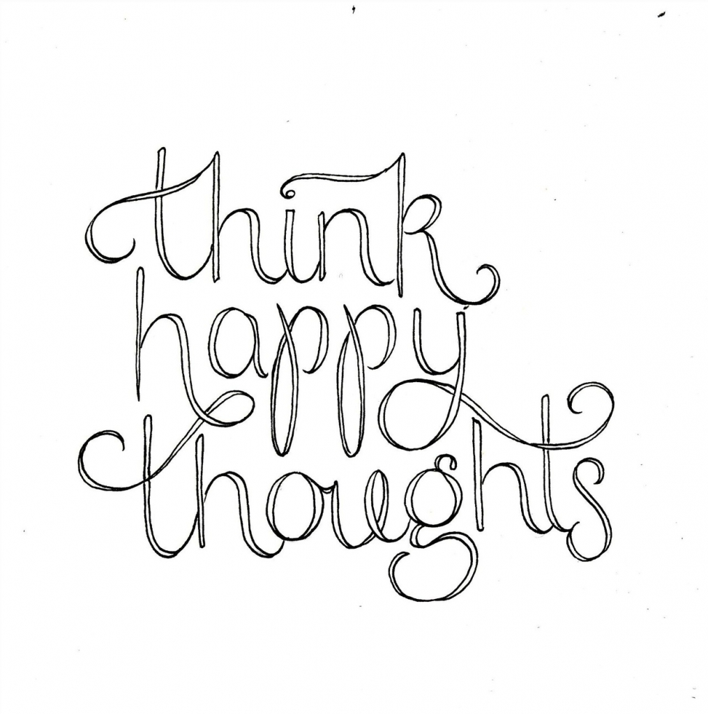 1015x1024 Think Happy Thoughts Peter Pan Quote Drawing And Peter Pan Quotes