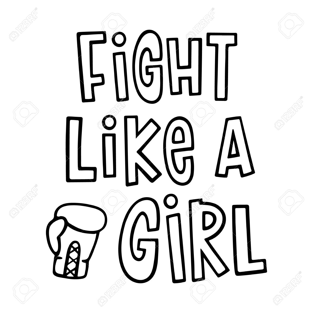 1300x1300 Fight Like A Girl ! The Quote Hand Drawing With Boxing Glove