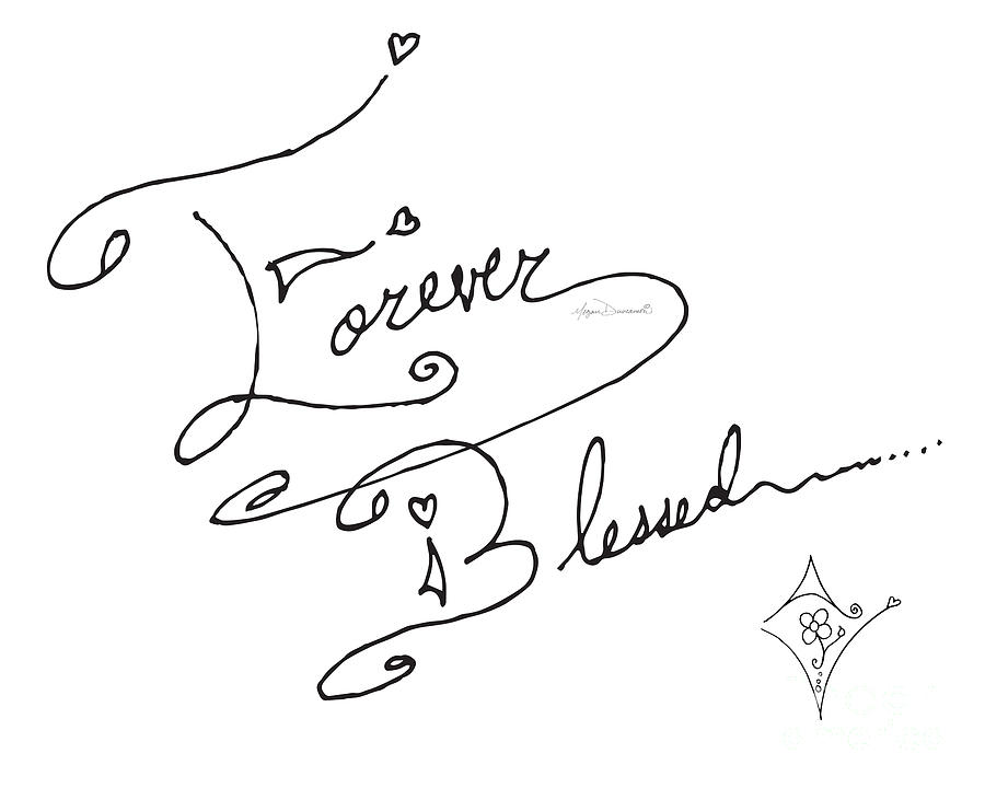 900x720 Forever Blessed Original Hand Drawn Typography Word Art Quote By