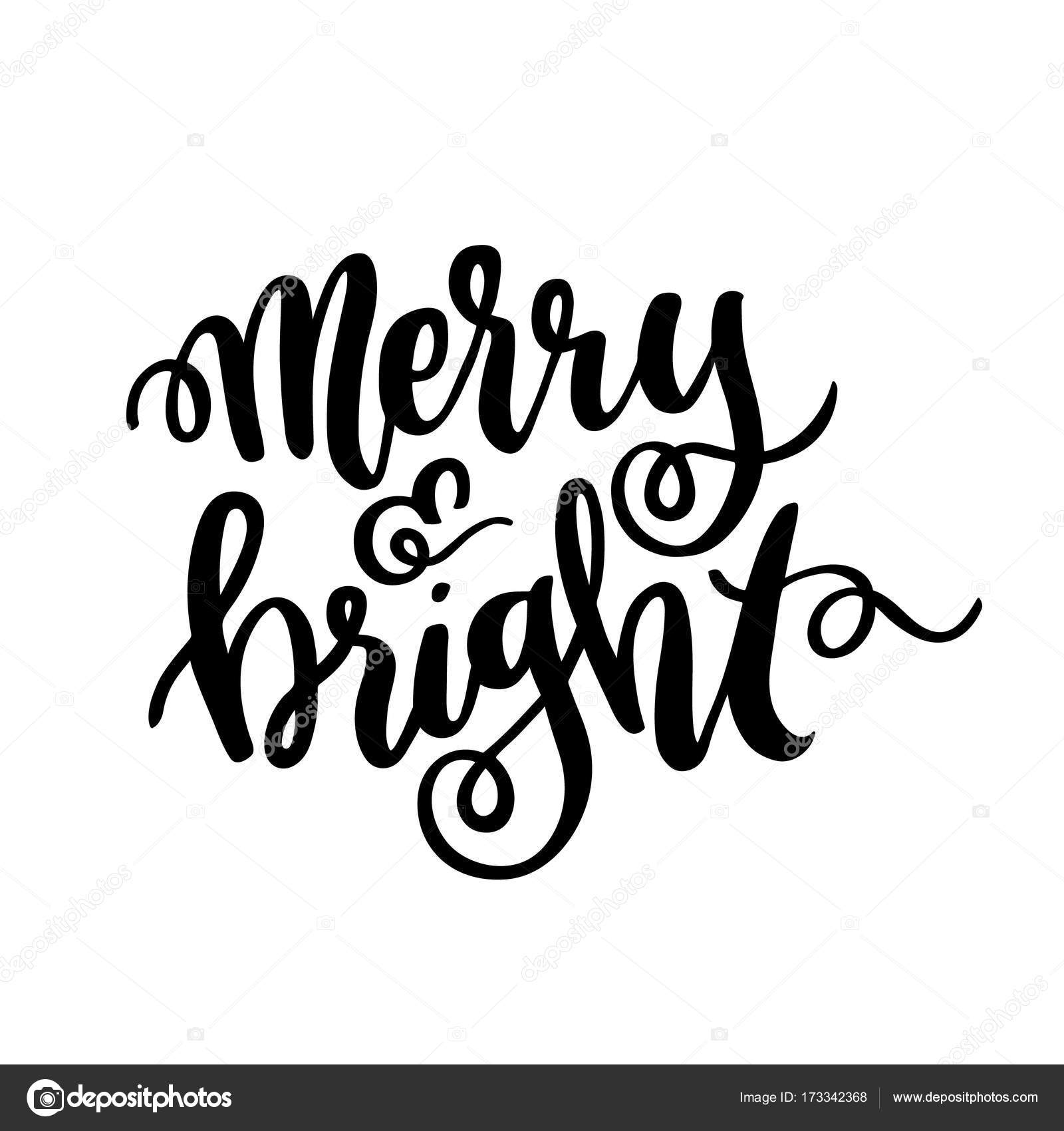 1600x1700 The Hand Drawing Quote Merry And Bright, In A Trendy Calligraphic