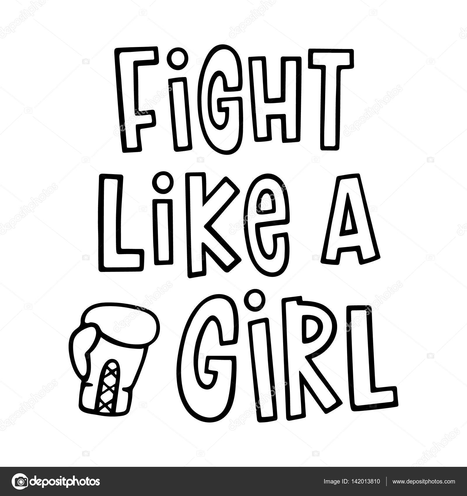 1600x1700 Fight Like A Girl ! The Quote Hand Drawing With Boxing Glove
