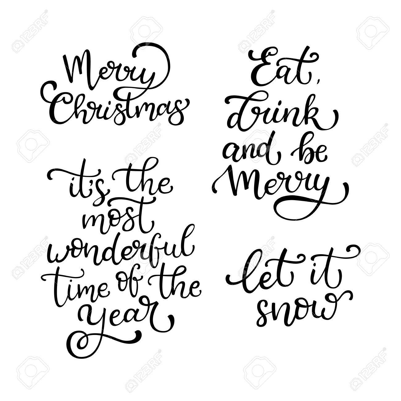 1300x1300 Set Of Hand Drawn Vector Quotes. Merry Christmas.let It Snow