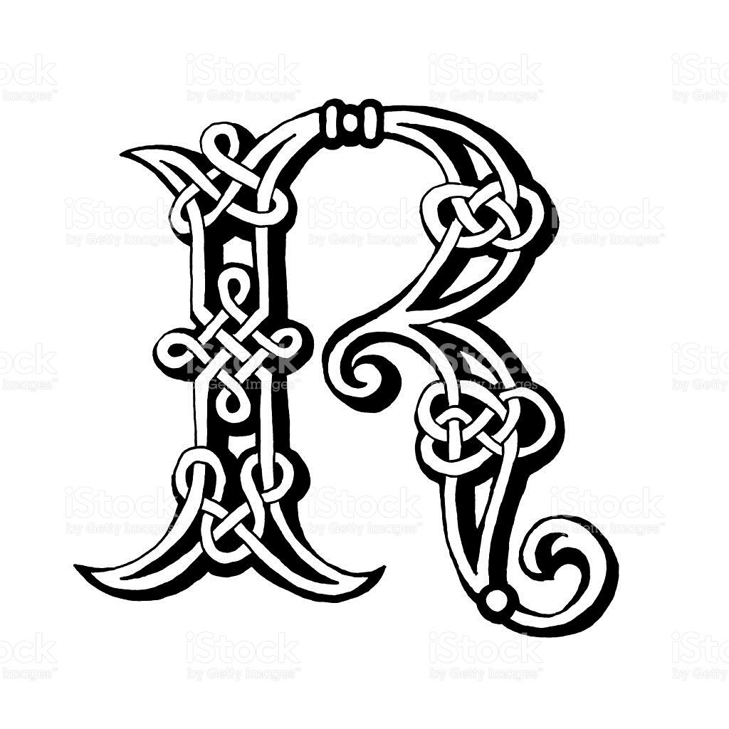 1024x1024 Hand Drawn Celtic Alphabet Letter R Stencil Font, Fonts