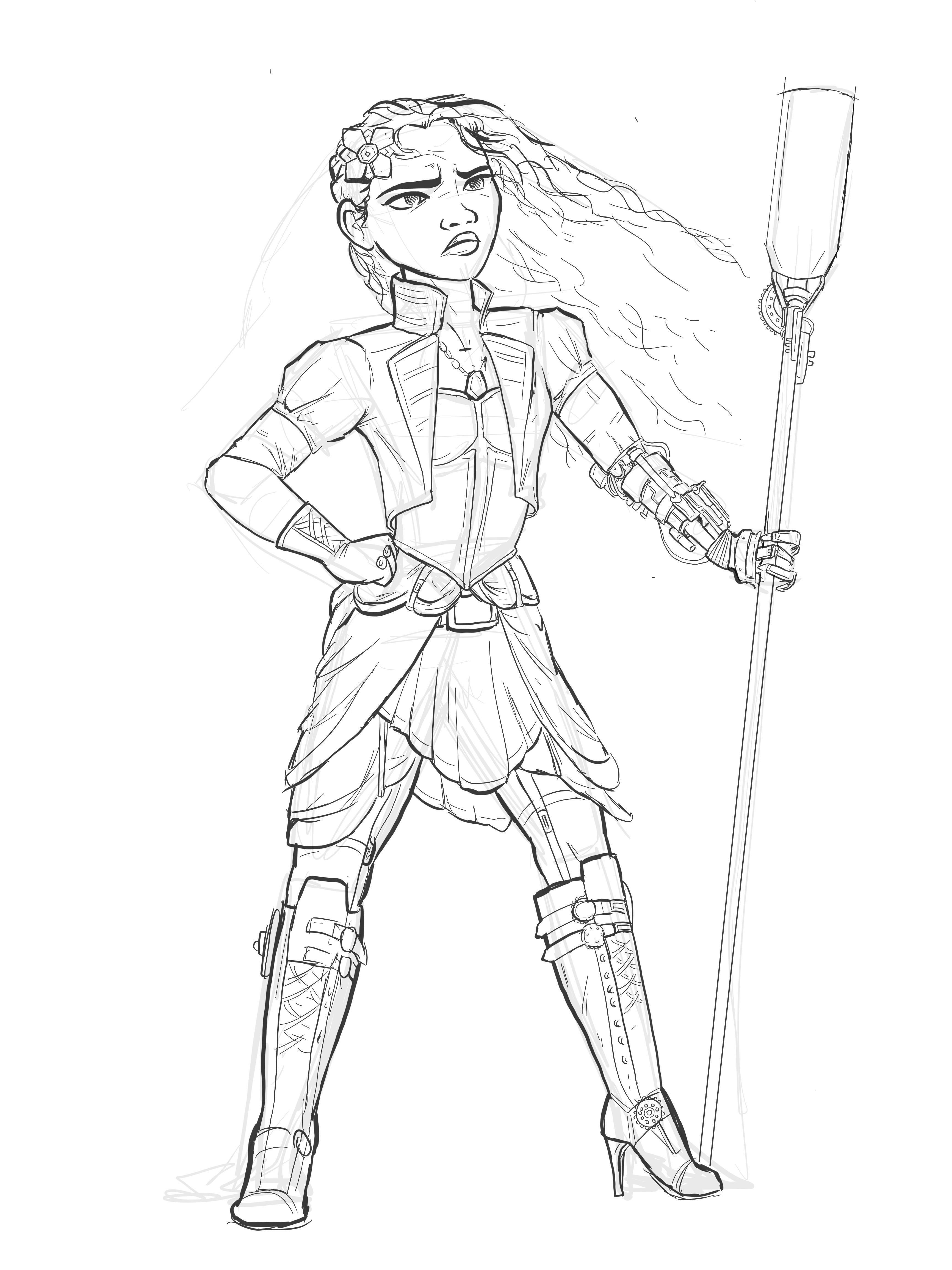 3464x4618 In Progress Moana Steampunk Concept Art. Any Critique