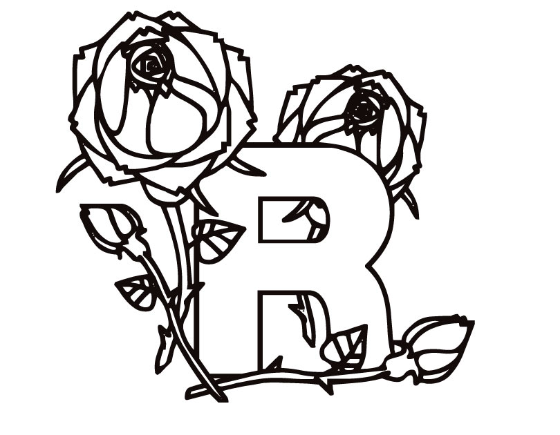 810x630 Letter R (Kiddy) Coloring Page