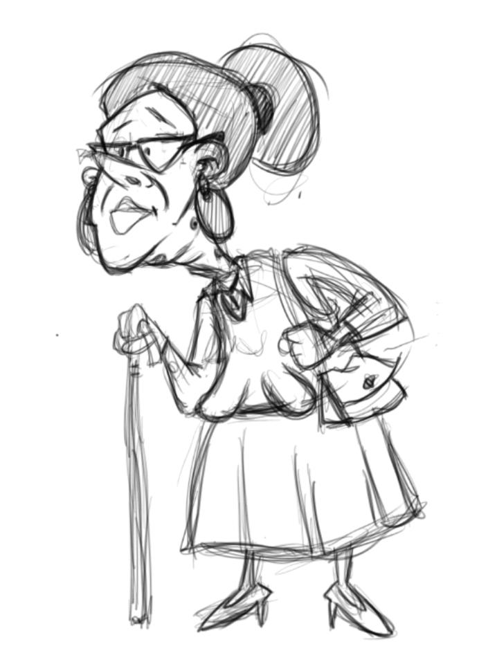 705x970 Old Lady By Carlos R. Gomez Sketch Zone