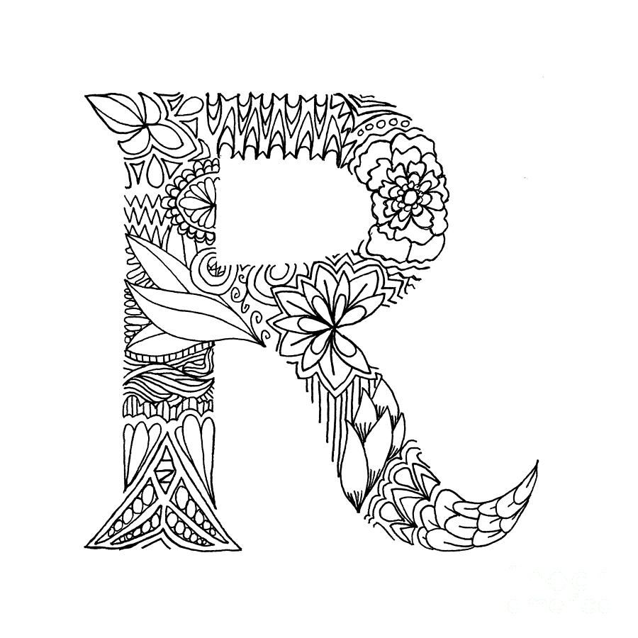 900x900 Patterned Letter R Drawing By Alyssa Zeldenrust