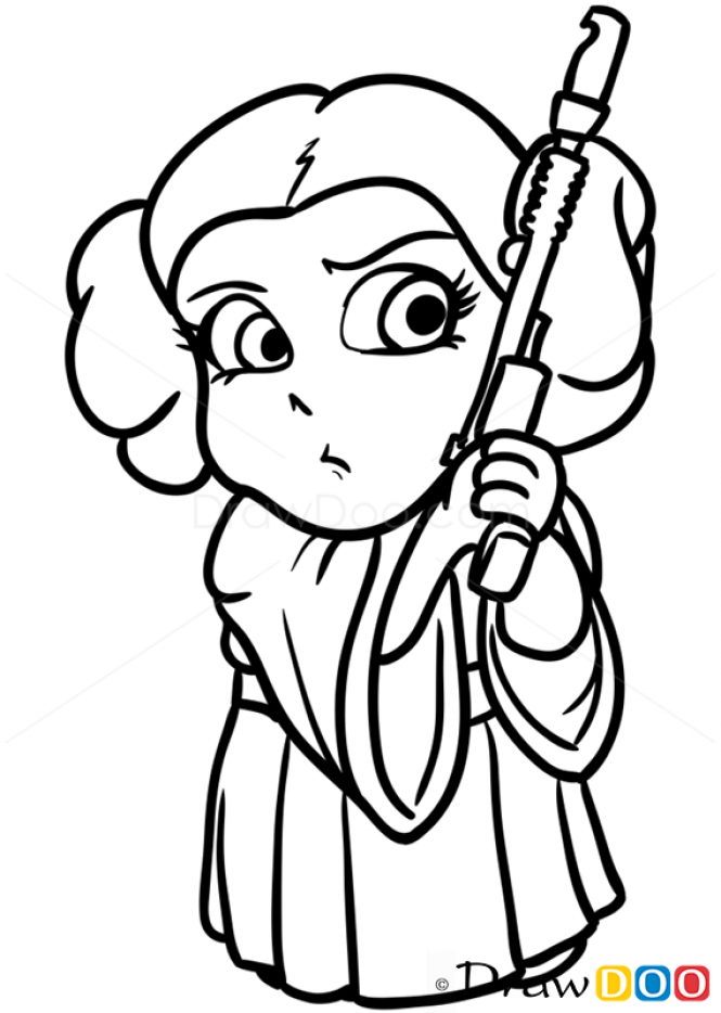 665x934 How To Draw Princess Leya, Chibi Star Wars